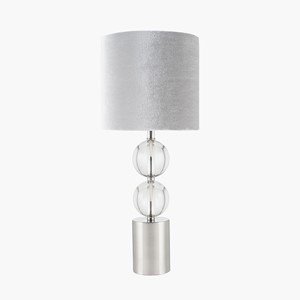 SILVER AND CLEAR GLASS TABLE LAMP INK. SHADE