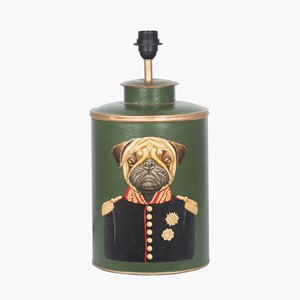 GREEN HAND PAINTED TOG METAL TABLE LAMP