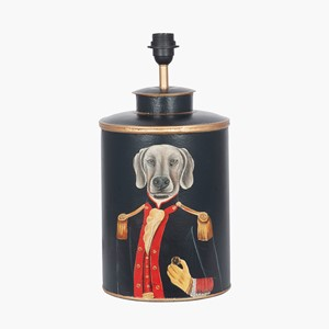 BLACK HAND PAINTED DOG METAL TABLE LAMP
