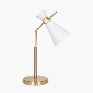 WHITE GLASS AND GOLD METAL WAISTED TABLE LAMP