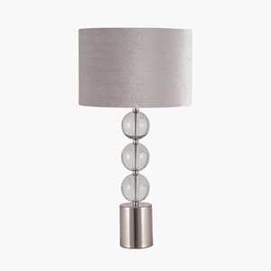 TALL BRUSHED SILVER AND GLASS TABLE LAMP