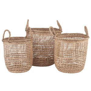 S/3 OPEN WEAVE SEAGRASS ROUND HANDLED BASKETS