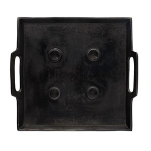 ALFEO SQUARE CANDLE HOLDER BLACK