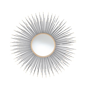 BLACK AND GOLD METAL STARBURST ROUND WALL MIRROR