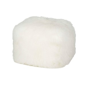 MONGOLIAN FUR POUF NATURAL