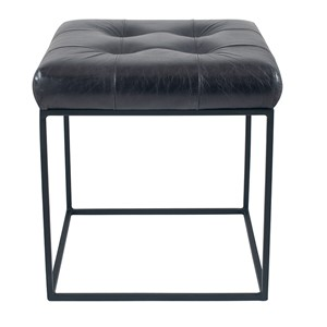 ARLO STEEL GREY LEATHER & IRON BUTTONED STOOL