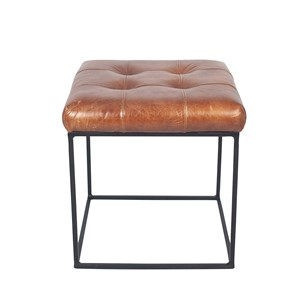 VINTAGE BROWN LEATHER AND IRON BUTTONED STOOL