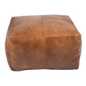 MATTEO NATURAL TAN LEATHER SQUARE POUFFE