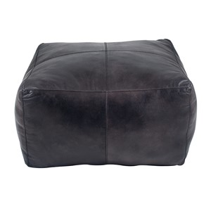 MATTEO STEEL GREY LEATHER SQUARE POUFFE