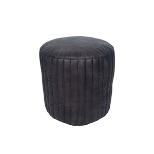 STEEL GREAY LEATHER CYLINDER POUFFE
