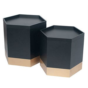 BLACK & GOLD STORAGE BOXES S/2