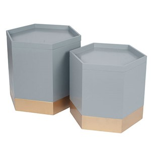 GREY & GOLD STORAGE BOXES S/2
