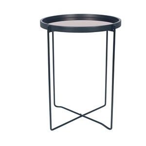 BLACK & COPPER WOOD & IRON ROUND SIDE TABLE